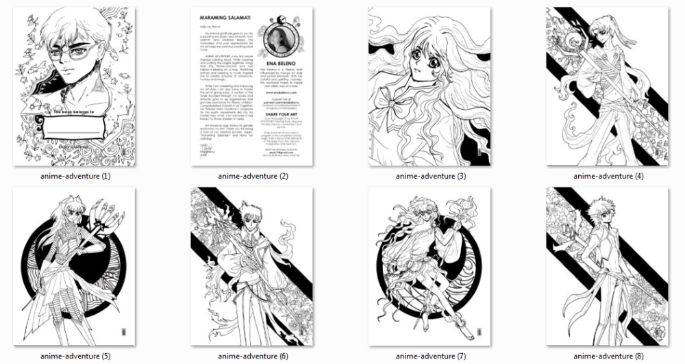 Anime Adventure Coloring Book by Ena Beleno