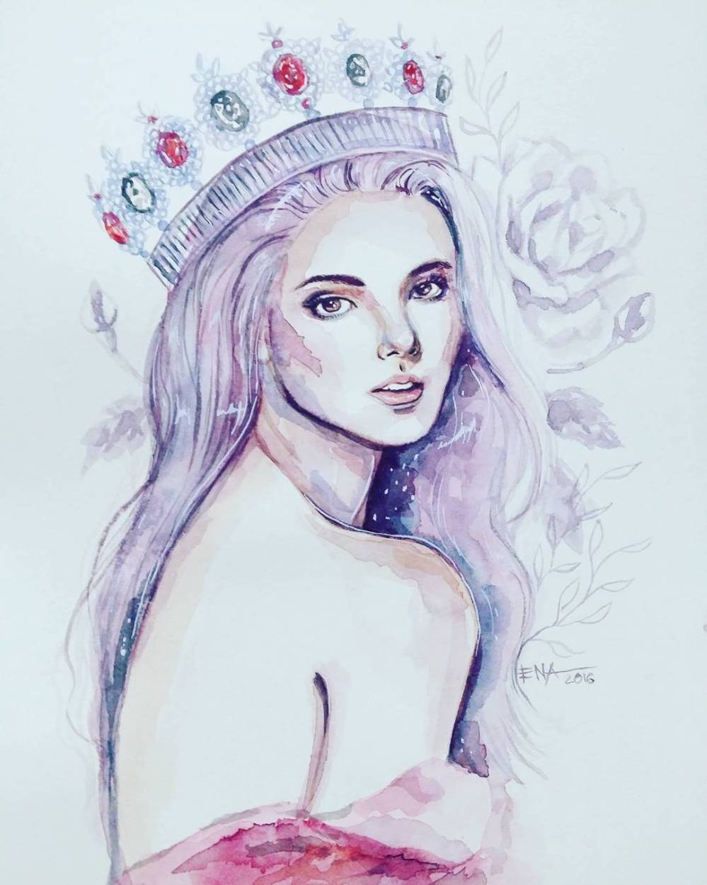 Miss World Philippines 2016 Catriona Gray Watercolor Fan Art