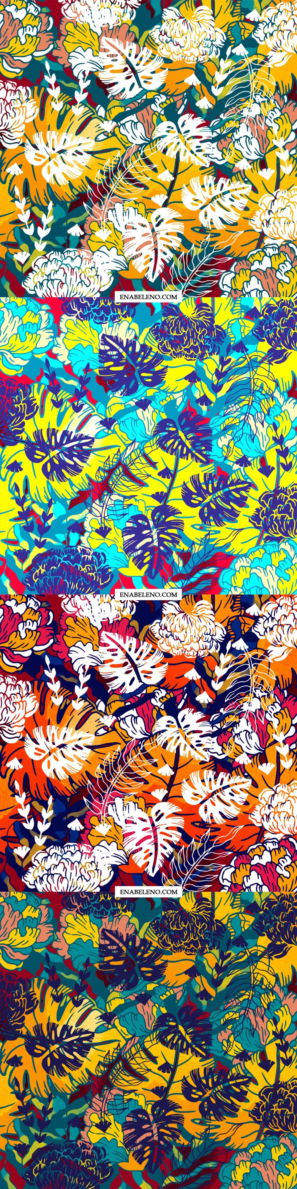 bold tropical summer pattern textile by ena beleno