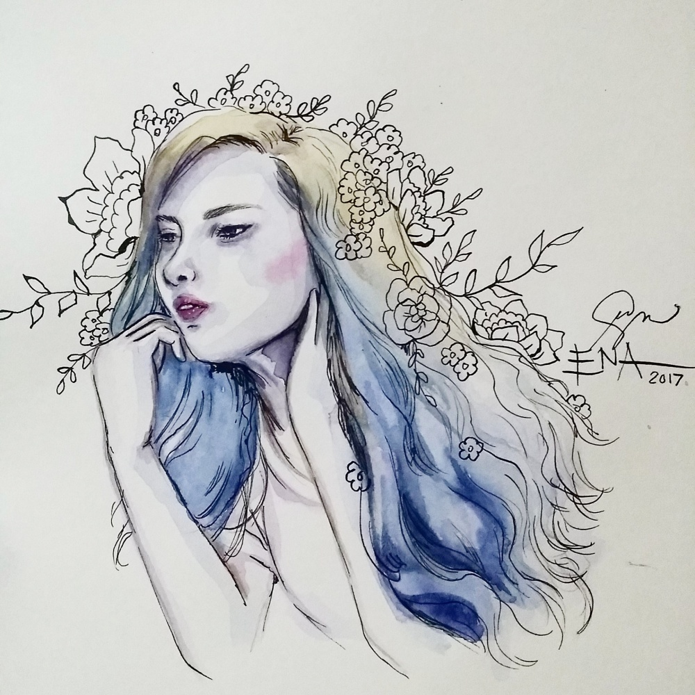 Rozainne Blue and Yellow Watercolor Portrait by Ena Beleno