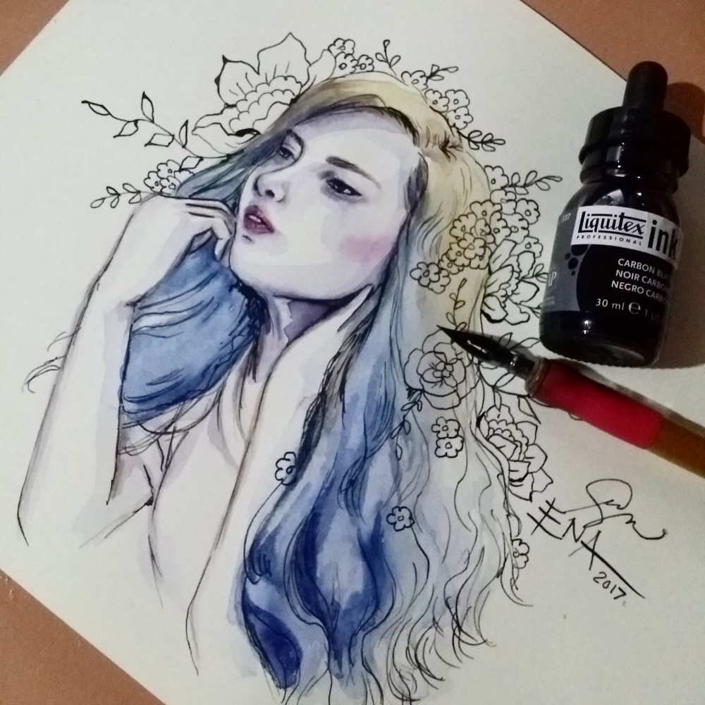 Watercolor Portrait by Ena Beleno