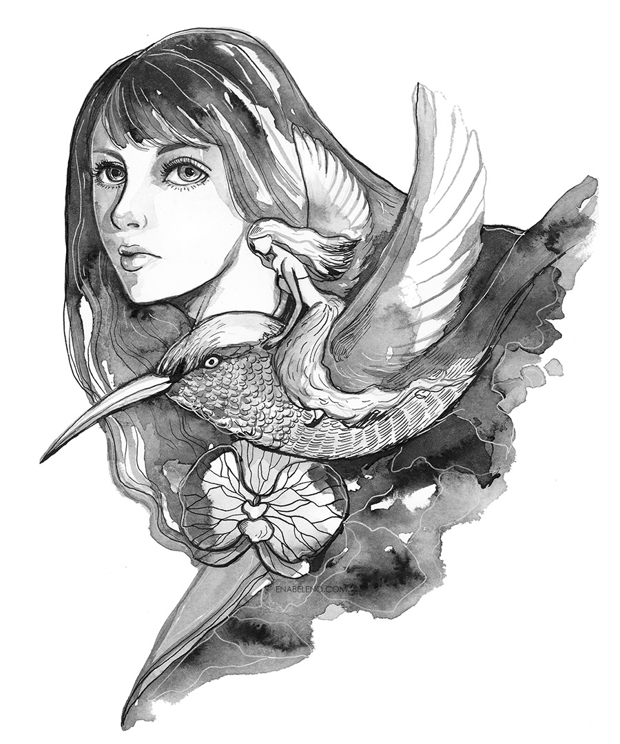 Humming bird black and white art by ena beleno