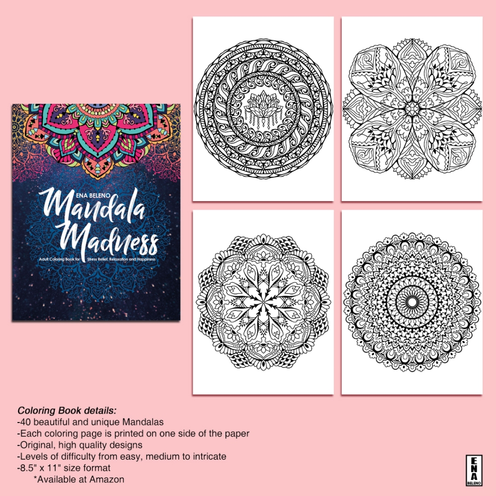 Mandala Adult Coloring Book for Stress Relief, Relaxation and Happiness