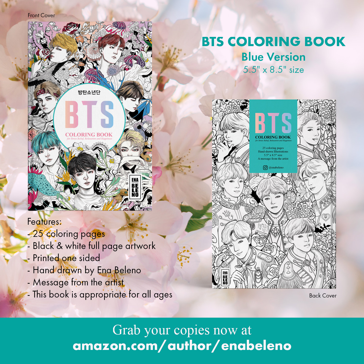 - BTS Coloring Book 5.5″ By 8.5″ Notebook Size For Stress Relief